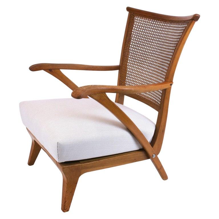 Lounge Chair or Armchair Wood Design Style Kagan Wickerwork Vienna Austria 1950s For Sale