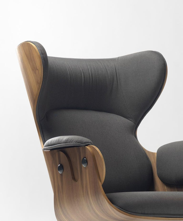Modern Lounger Armchair, Oak Stained Ash For Sale