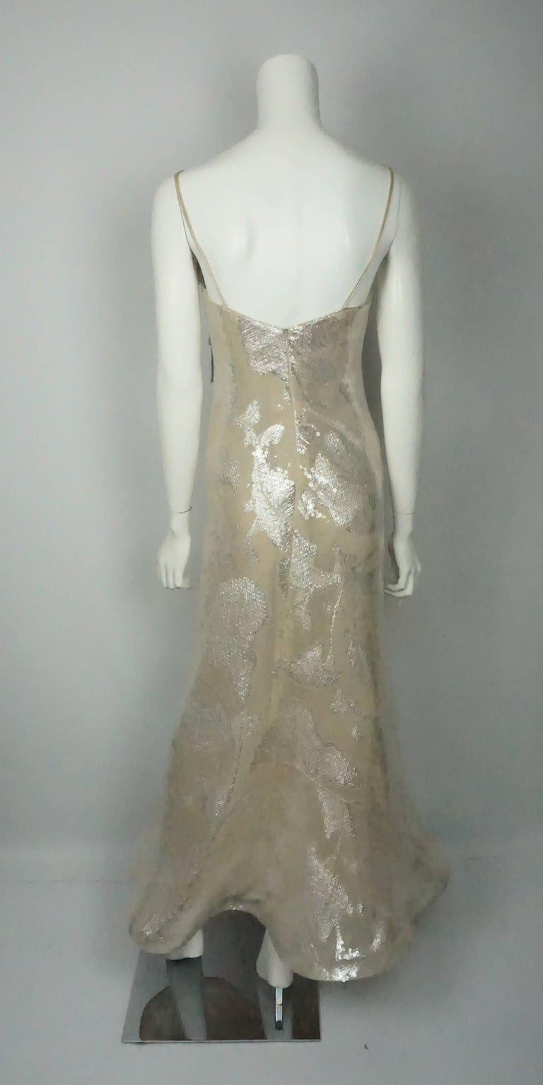 Lourdes Chavez Silver Sequin Gown For Sale at 1stdibs