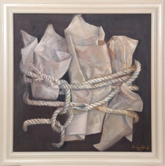 """Paper and Rope"", Framed Oil Painting, 2002"