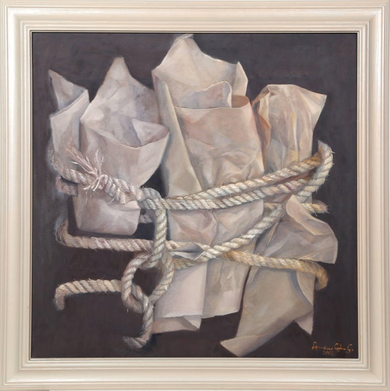 """Lourdes Leon Still-Life Painting - """"Paper and Rope"""", Framed Oil Painting, 2002"""