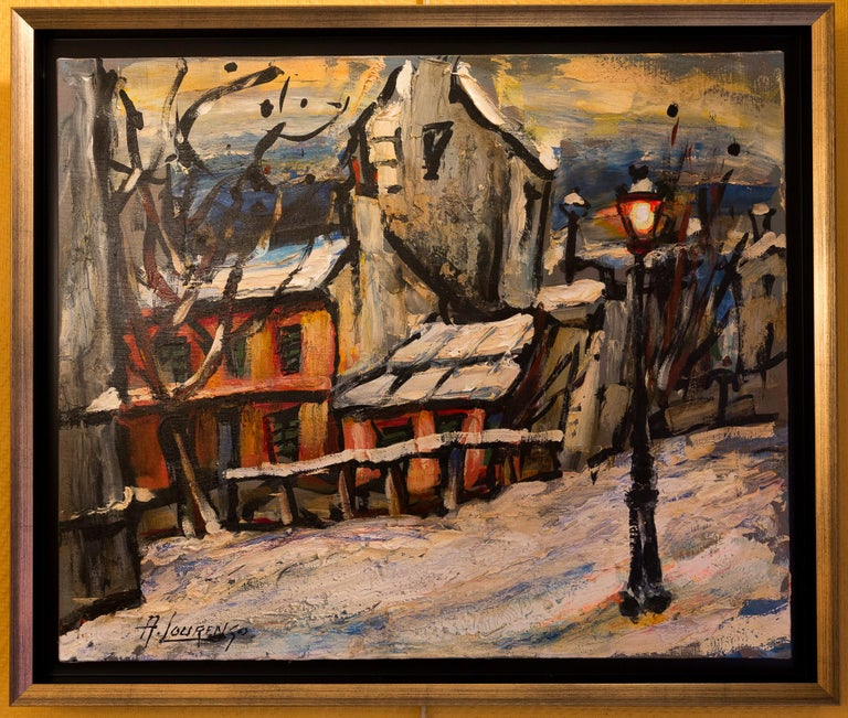 An interesting and decorative oil on canvas depicting The Montmartre, circa 1920s Le Lapin Agile. Lapin Agile is a famous Montmartre Cabaret at Rue des Saules 22. It is a favorite spot for Picasso, Modigliani, Apollinaire, and Utrillo.  Armand