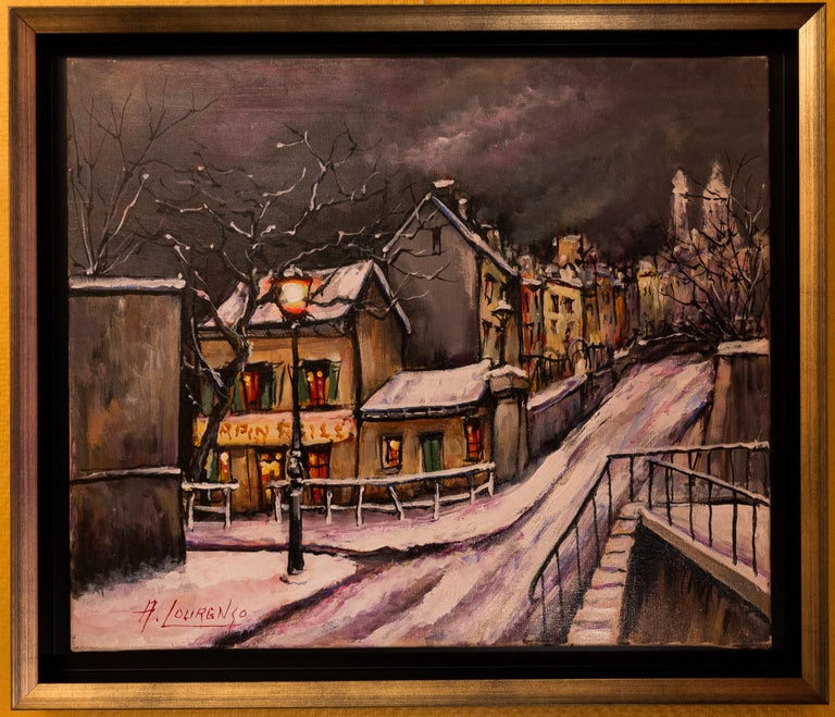 An interesting and decorative oil on canvas depicting The Montmartre circa 1920s Le Lapin Agile. Lapin Agile is a famous Montmartre Cabaret at Rue des Saules 22. It is a favorite spot for Picasso, Modigliani, Apollinaire and Utrillo.