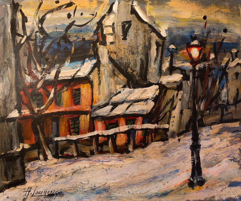 French Lourenco Armand Oil on Canvas Montmartre, 1920 Le Lapin Agile For Sale