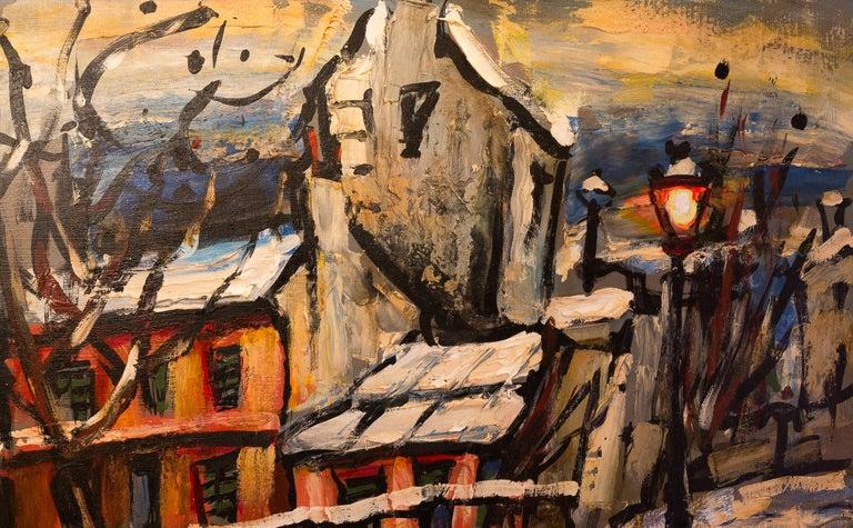Oiled Lourenco Armand Oil on Canvas Montmartre, 1920 Le Lapin Agile For Sale