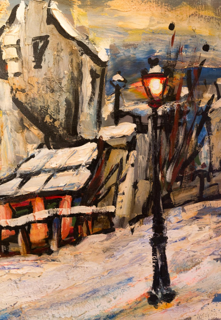 Lourenco Armand Oil on Canvas Montmartre, 1920 Le Lapin Agile In Excellent Condition For Sale In Saint Ouen, FR