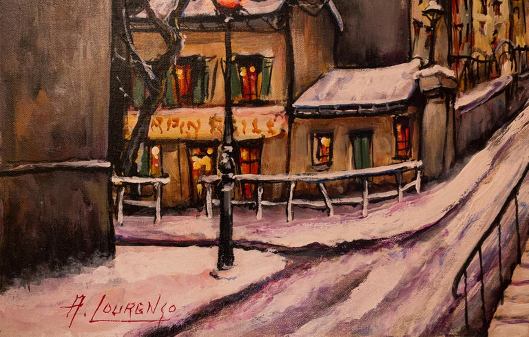 Lourenco Armand Oil on Canvas Montmartre, 1920 Le Lapin Agile In Excellent Condition For Sale In Saint Ouen, FR