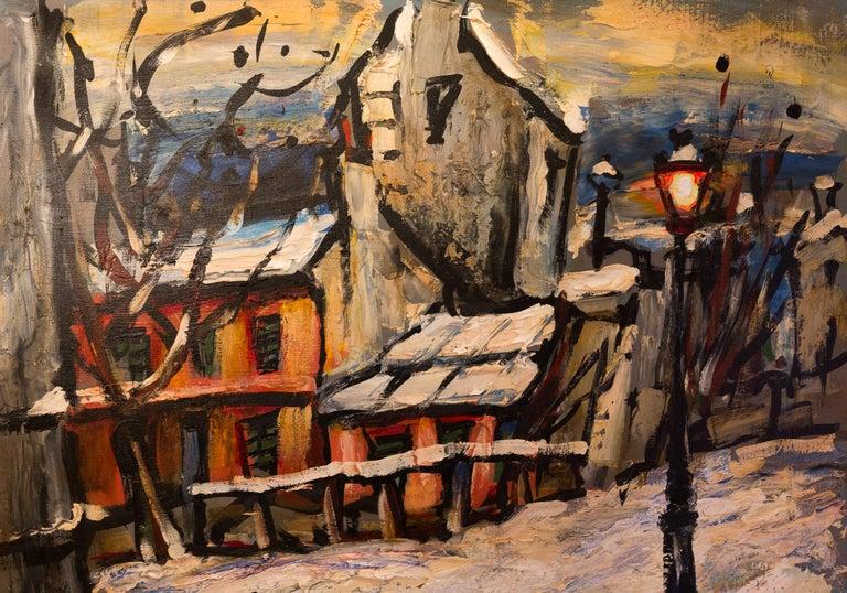 20th Century Lourenco Armand Oil on Canvas Montmartre, 1920 Le Lapin Agile For Sale