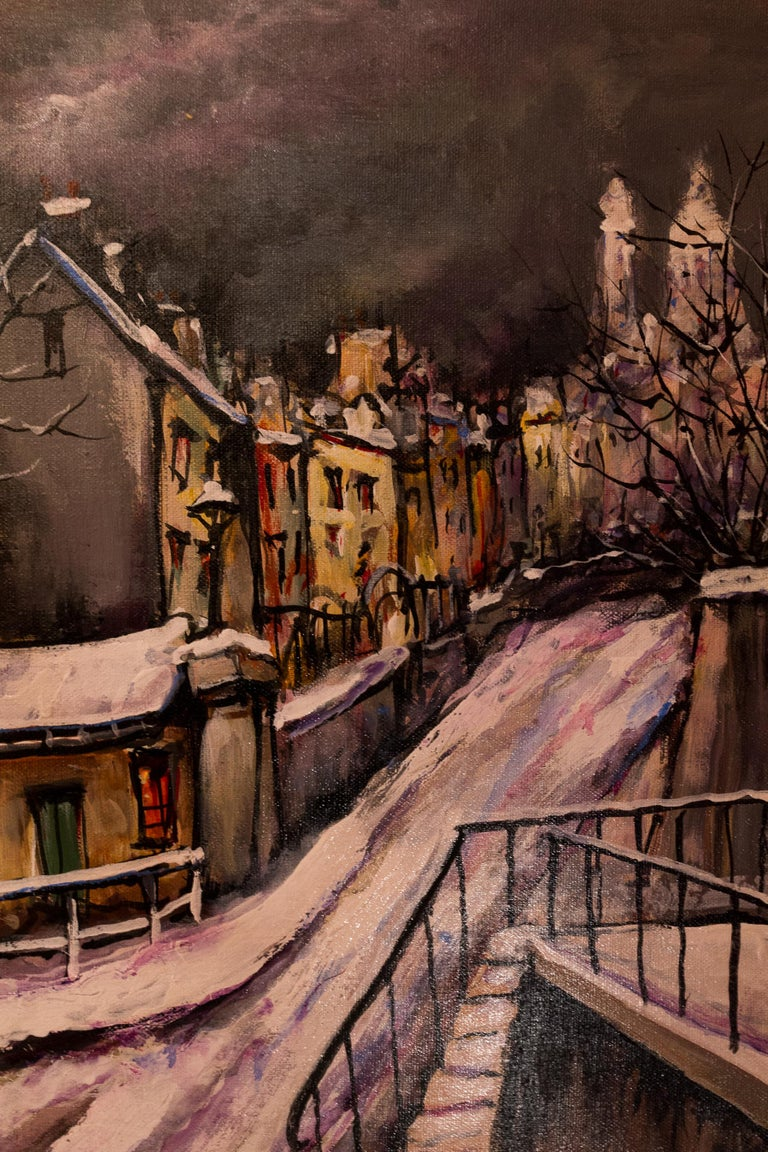 20th Century Lourenco Armand Oil on Canvas Montmartre, 1920 Le Lapin Agile For Sale