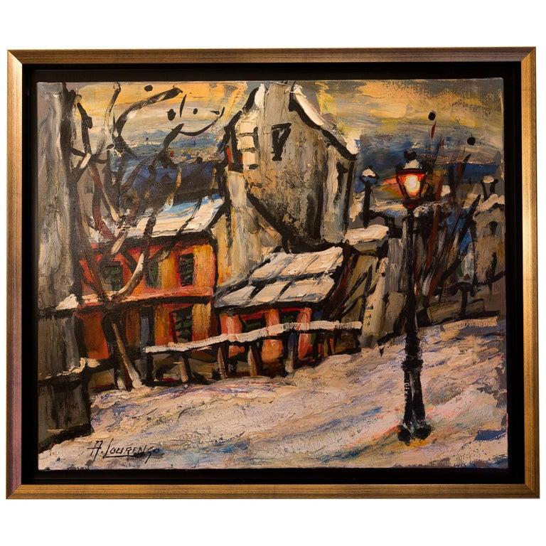 Lourenco Armand Oil on Canvas Montmartre, 1920 Le Lapin Agile For Sale