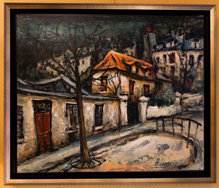 An interesting and decorative oil on canvas depicting The Montmartre, circa 1920s Picasso House. Armand Lourenco made early 20th century Paris views his specialty. He shows us the Picasso house with whom he worked.  Gorgeous work of this famous