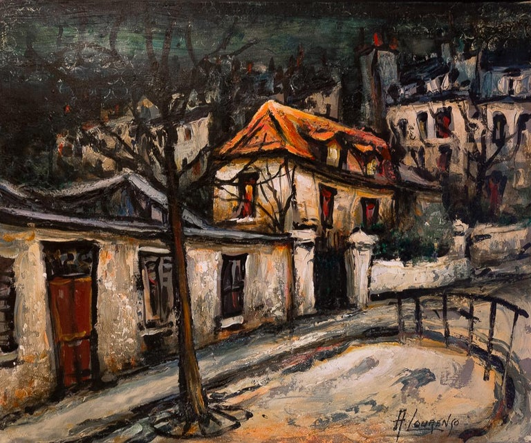 French Lourenco Armand Oil on Canvas Montmartre, 1920 Picasso House For Sale