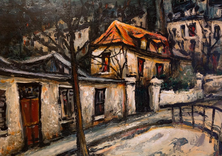 Oiled Lourenco Armand Oil on Canvas Montmartre, 1920 Picasso House For Sale