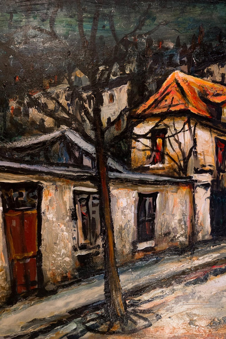 Lourenco Armand Oil on Canvas Montmartre, 1920 Picasso House In Good Condition For Sale In Saint Ouen, FR