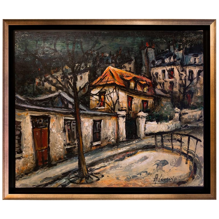 Lourenco Armand Oil on Canvas Montmartre, 1920 Picasso House For Sale