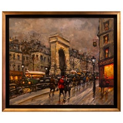 Lourenco Armand Oil on Canvas Paris View La Porte Saint-Denis