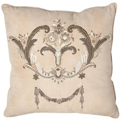 Louvois Metal Embroidery on Natural Suede Throw Pillow