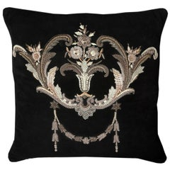 Louvois Metal Embroidery on Suede Throw Pillow in Black