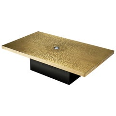 Lova Creation Etched Brass Coffee Table with Agate