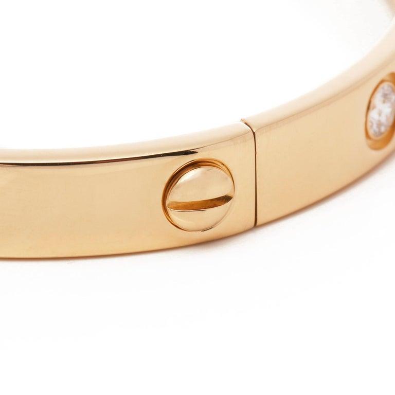 Love 10 Diamond 18 Carat Yellow Gold Bangle For Sale 1