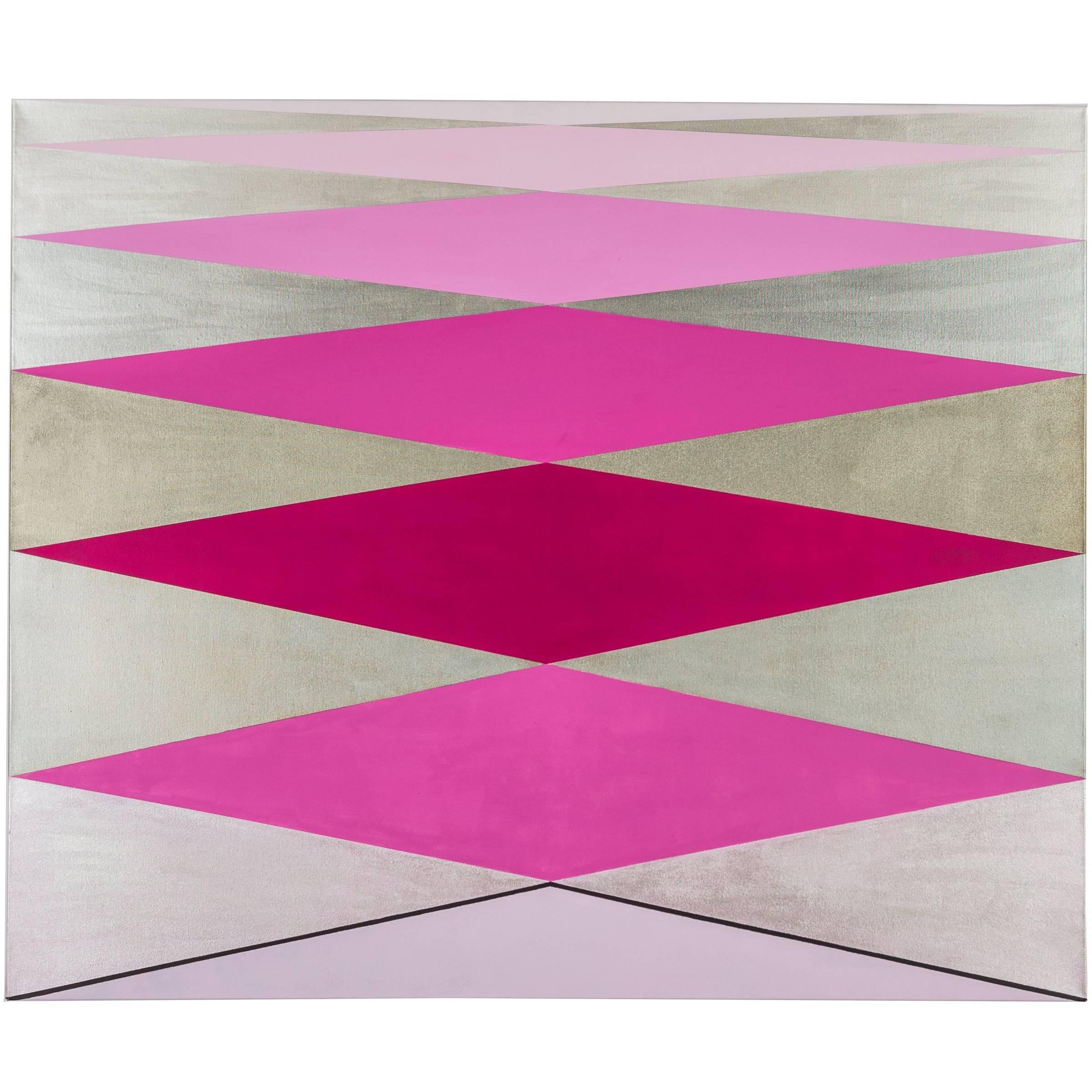 """Love"" 2012 Acrylic/Rose/ Geometric Modern on Canvas by Cecilia Setterdahl"