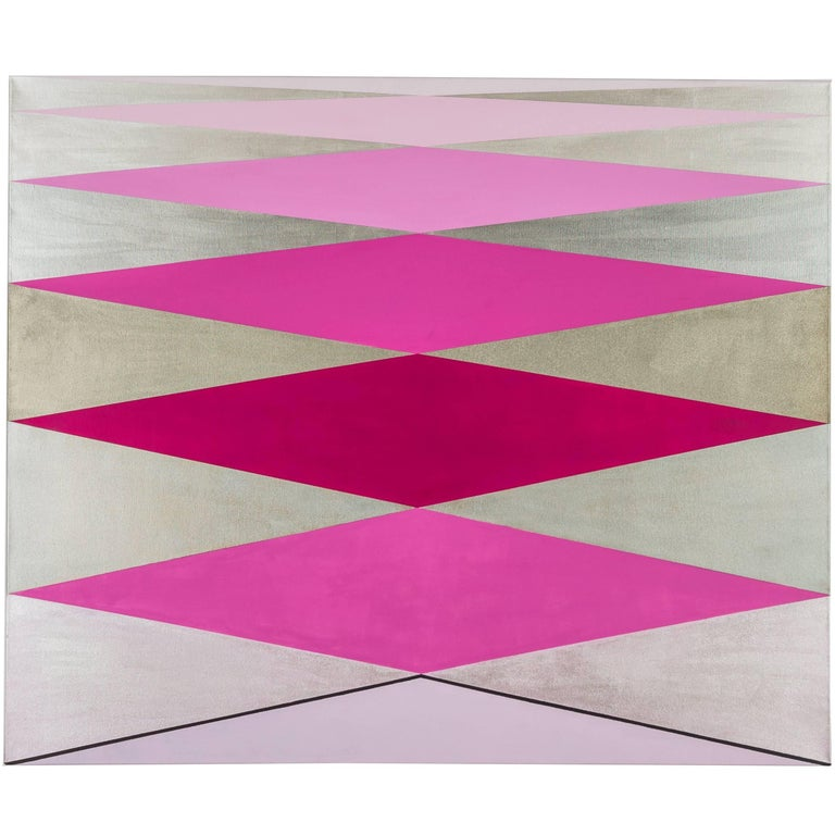 """""""Love"""" 2012 Acrylic/Rose/ Geometric Modern on Canvas by Cecilia Setterdahl For Sale"""
