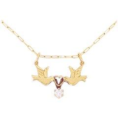 Love Bird Necklace, Diamond, 14 Karat Gold, Neckmess, Stackable Necklace, Estate