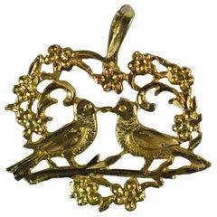 Love Birds in Heart Filigree Yellow Gold Charm Pendant