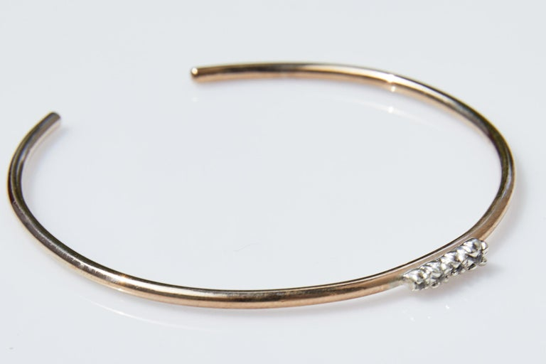 Round Cut White Diamond Gold Love Bracelet Bangle Victorian Style J Dauphin For Sale