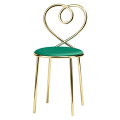 Love Chair in Malachite with Polished Brass by Nika Zupanc