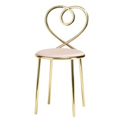 Love Chair in Rose with Polished Brass by Nika Zupanc