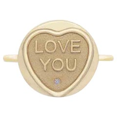 Love Hearts Love You 9 Karat Yellow Gold and Diamond Commitment Ring
