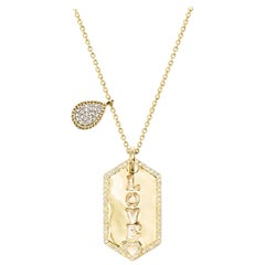 Love Hex Pendant with Pear Beading Pave Necklace
