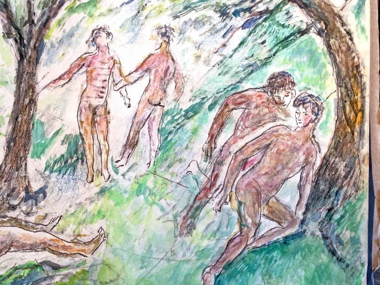 Full of atmosphere and fresh color, this watercolor painting depicts a group of eight nude male figures in a wooded setting, holding hands, talking, admiring the view, and stealing off for a romantic moment, all expressed in vivid pink and tan flesh