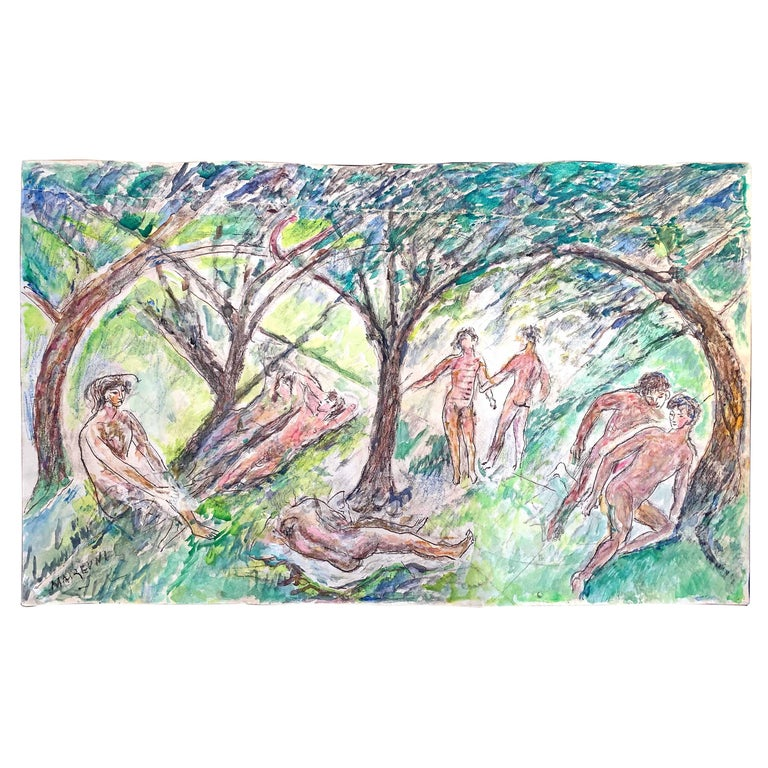 """""""Love in the Woods,"""" Rare View of Bucolic, Gay Outing with Male Nudes For Sale"""