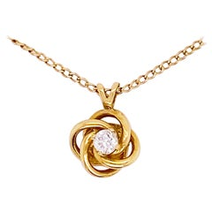 Love Knot Diamond Necklace, 14k Yellow Gold, #NeckMess, True Lovers Knot, Gift