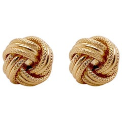 Love Knot Earring in 14K Gold Stud, Textured Love Knot Post Earrings