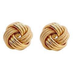 Love Knot Earrings in Yellow Gold w Triple Knot