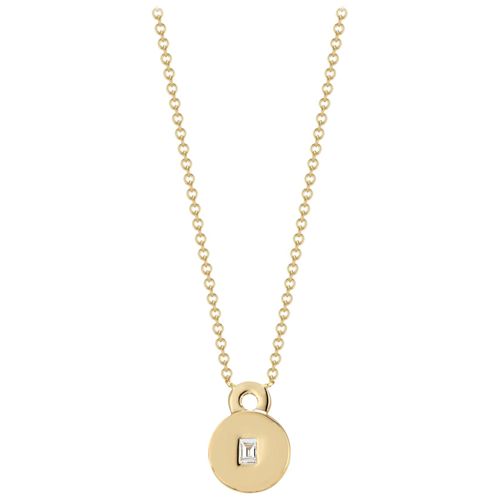 Love Lock Necklace with Baguette Diamond Solitaire