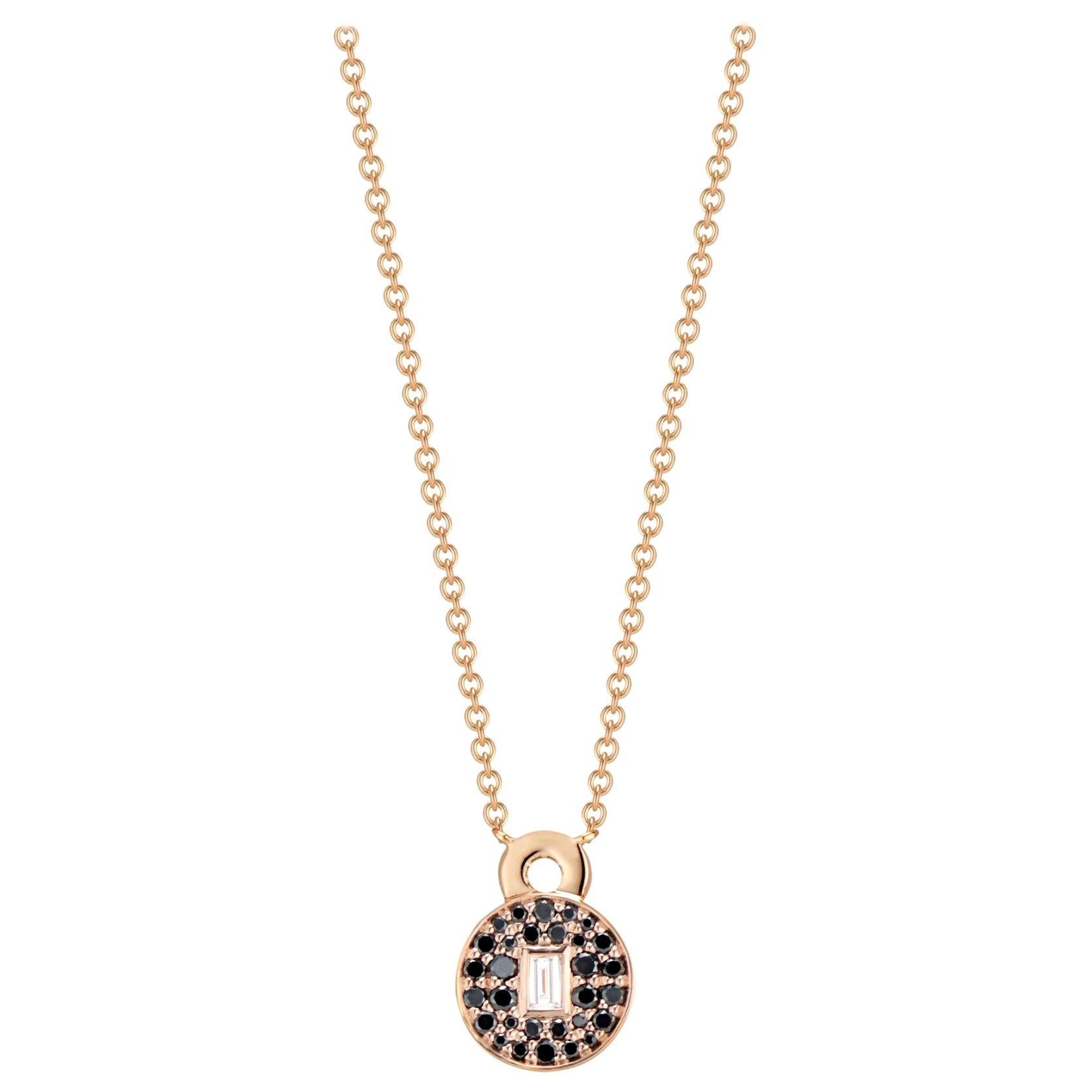 Love Lock Necklace with Black Diamonds and Baguette Diamond Solitaire