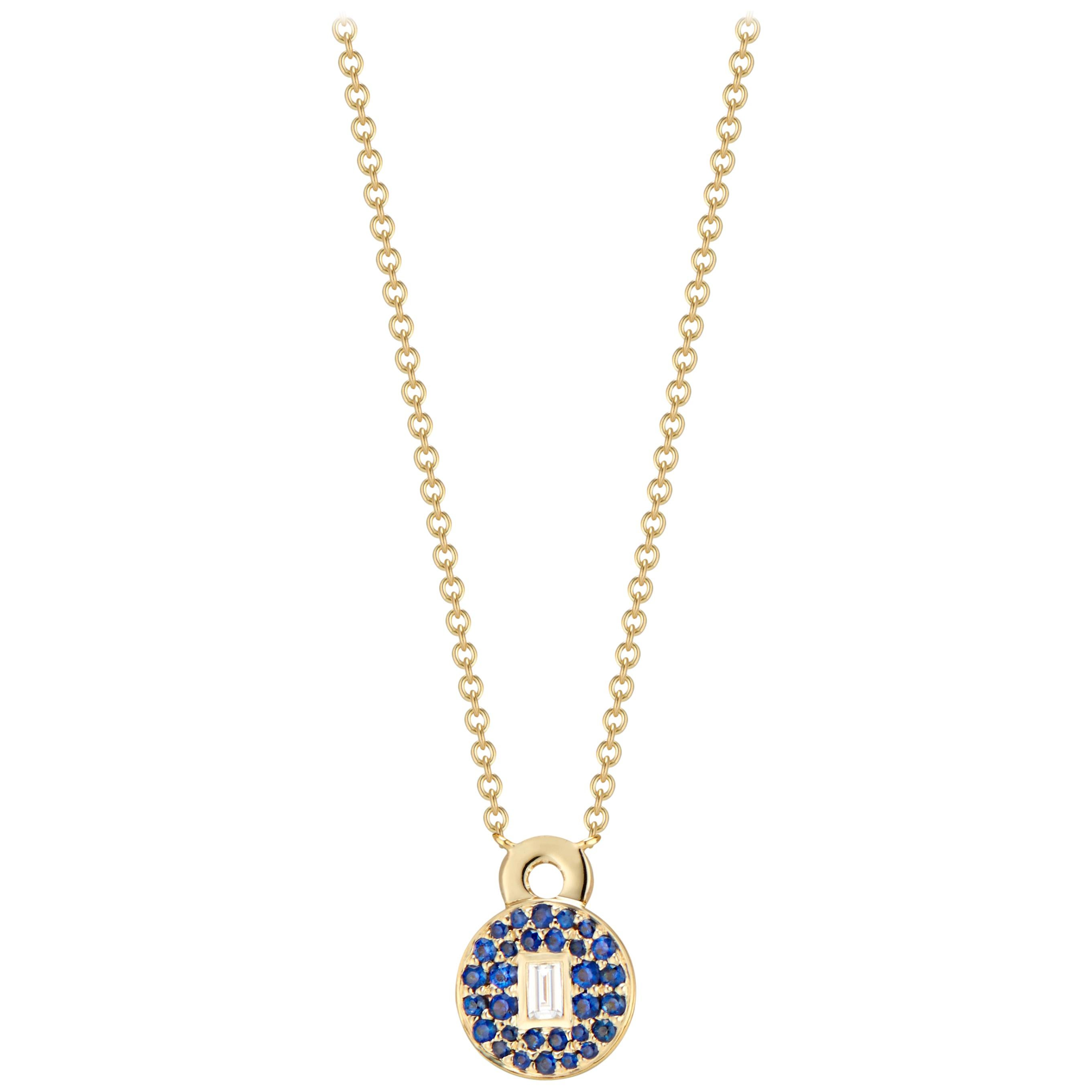 Love Lock Necklace with Blue Sapphires and Baguette Diamond Solitaire