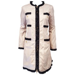 Love Moschino Beige with Black Ruffled Trim Raincoat Size 10 US