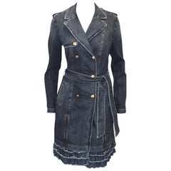 Love Moschino Denim Double Breasted Dress Coat Zipper Slits