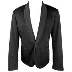 LOVE MOSCHINO Size 40 Black Satin Shawl Collar Sport Coat