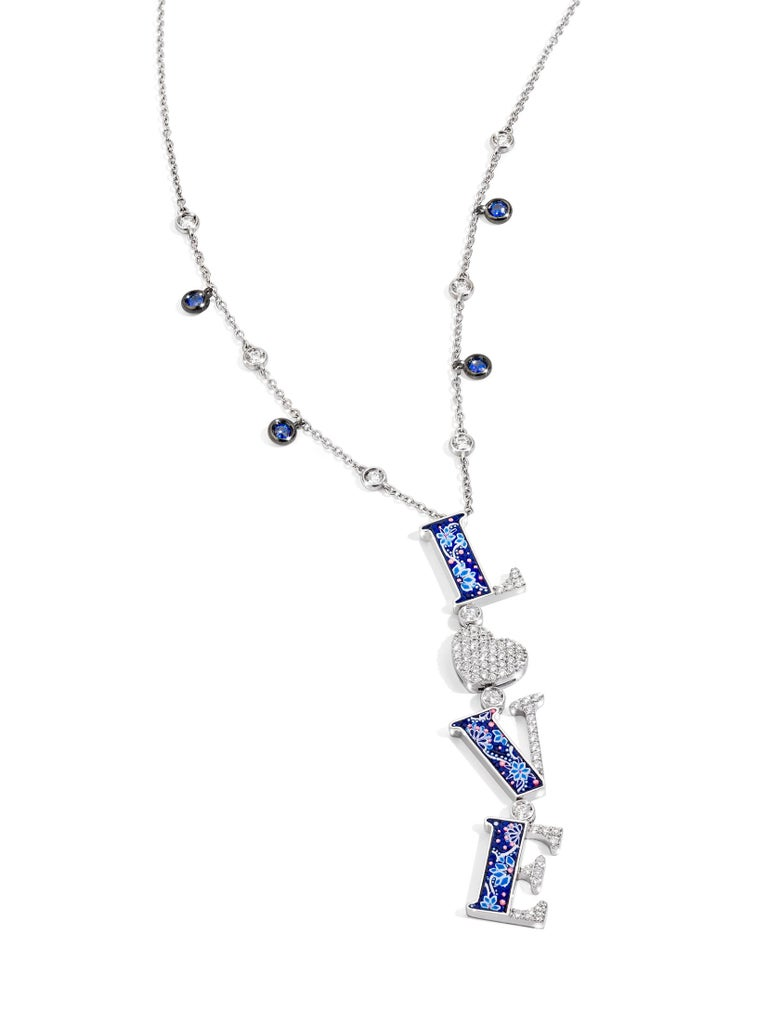 Modern Love Necklace White Diamonds White Gold Blues Sapphires Decorated Micromosaic For Sale