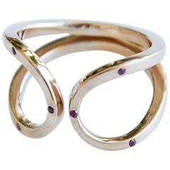 Love Ring  Ruby Gold Adjustable J Dauphin