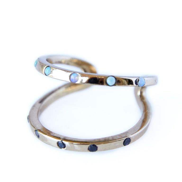 Love Ring Gold Black Diamond Opal Adjustable J Dauphin  J DAUPHIN