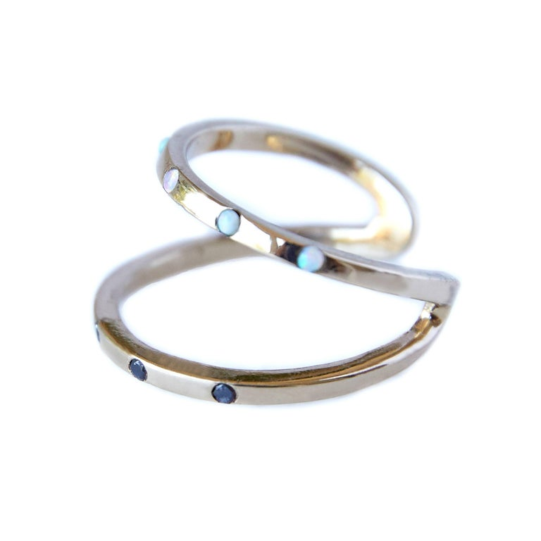 Contemporary Love Ring Gold Black Diamond Opal Adjustable J Dauphin For Sale