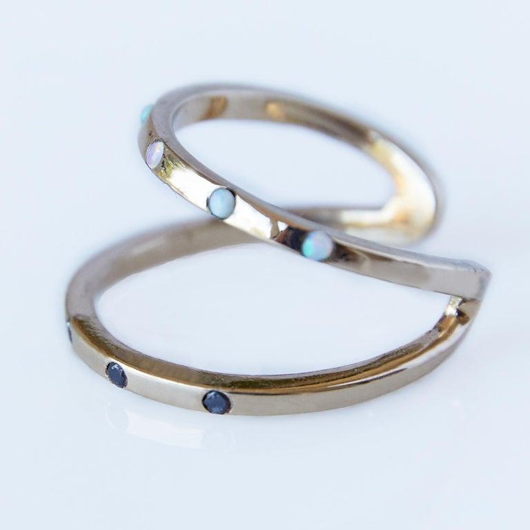 Round Cut Love Ring Gold Black Diamond Opal Adjustable J Dauphin For Sale