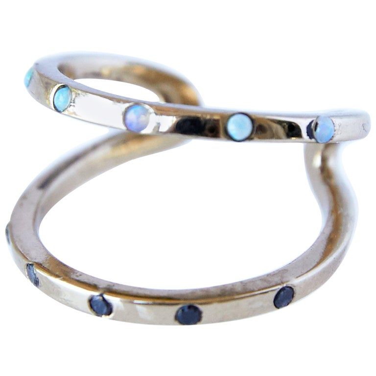 Love Ring Gold Black Diamond Opal Adjustable J Dauphin For Sale